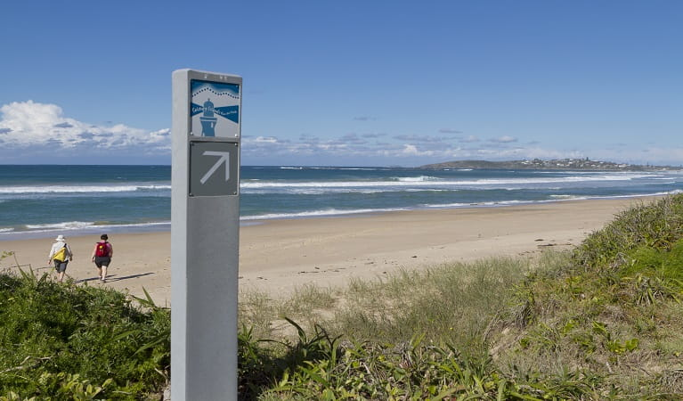 Lighthouse track marker along the beach at Woolgoolga. Photo: Rob Cleary.