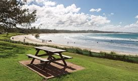Picnic table beside Woolgoola Beach. Rob Cleary