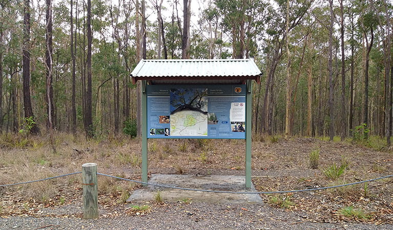 An information shelter at Eagleton Road near Columbey horse riding trails in Columbey National Park. Photo: Liam Banyer © DPIE