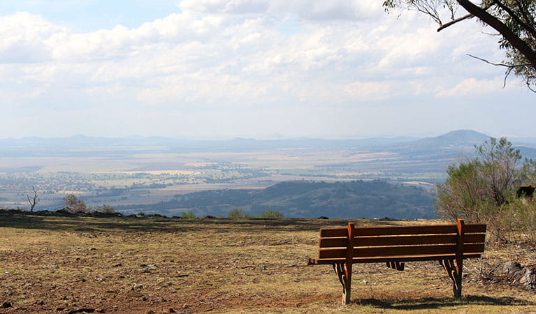 Grassy lookout area with park bench, set against wide views of plains and mountains. Photo: Jessica Stokes © Jessica Stokes
