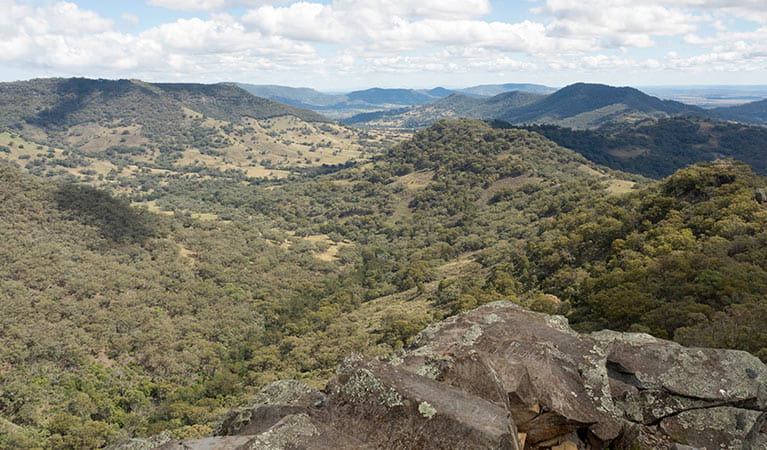 View past a rocky ledge to a rolling landscape dotted with bushland, in Coolah Tops National Park. Photo: Leah Pippos/DPIE