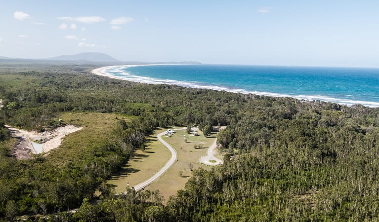 Aerial view of Crowdy Gap campground and nearby beach in Crowdy Bay National Park. Photo: Rob Mulally/DPIE