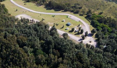 Birds-eye-view of Crowdy Gap campground in Crowdy Bay National Park. Photo: Kevin Carter
