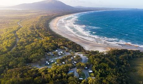 Aerial view of Diamond Head campground and nearby Dunbogan Beach. Photo: © Rob Mulally