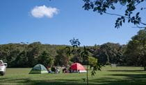 Tents and vehicles at Indian Head campground. Photo: Debby McGerty
