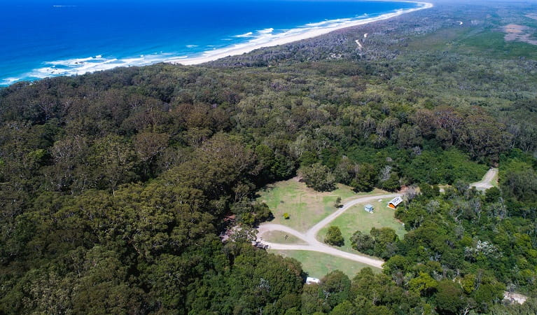 Aerial view of Indian Head campground, Crowdy Bay National Park. Photo: Rob Mulally/DPIE