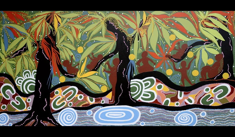 Painting depicting the sacredness of Minerva Pool in Dharawal National Park. Artwork: Coomaditchie Artists/OEH