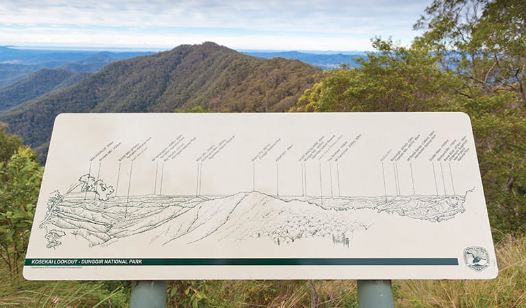 Kosekai lookout information post, Dunggir National Park. Photo: Rob Cleary