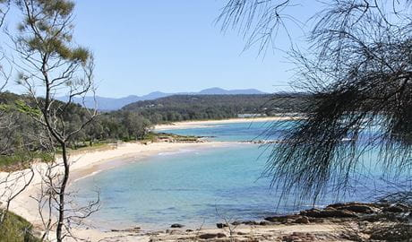 View of Shelly Beach from Moruya Heads lookout in Eurobodalla National Park. Photo: Tristan Ricketson © Tristan Ricketson