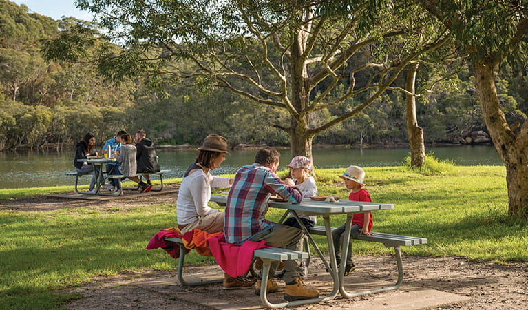 A family and a group of friends at picnic tables in Davidson Park picnic area and boat ramp, Garigal National Park. Photo: John Spencer/DPIE