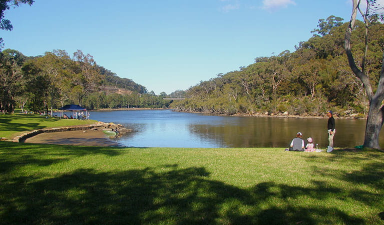 Family enjoying Davidson Park by Middle Harbour Creek in Garigal National Park. Photo: Natasha Webb/OEH