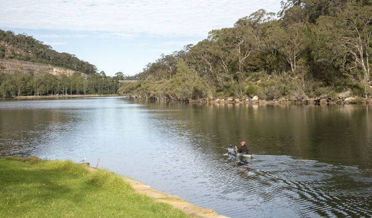 A person in a canoe glides down the river next to Davidson Park, in Garigal National Park. Photo: John Spencer/OEH