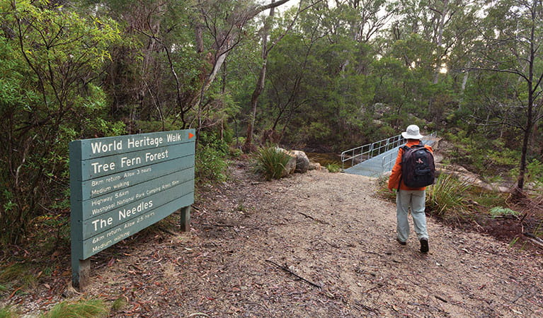 A bushwalker passes signage for The Needles walking track on his way to a bridge over Little Dandahra Creek. Photo: Robert Cleary © DPIE