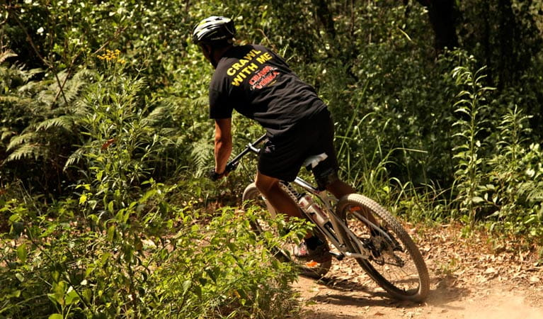 Mountain biker in Glenrock State Conservation Area. Photo: Shaun Sursok