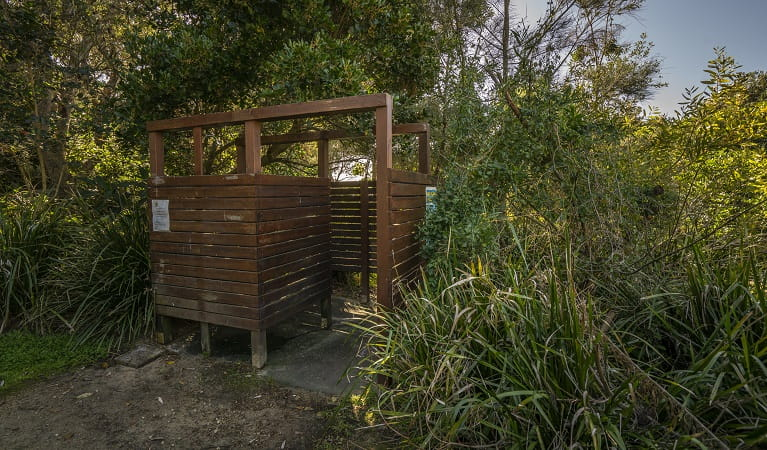 Outdoor shower area at Racecourse campground, Goolawah National Park. Photo: John Spencer/OEH