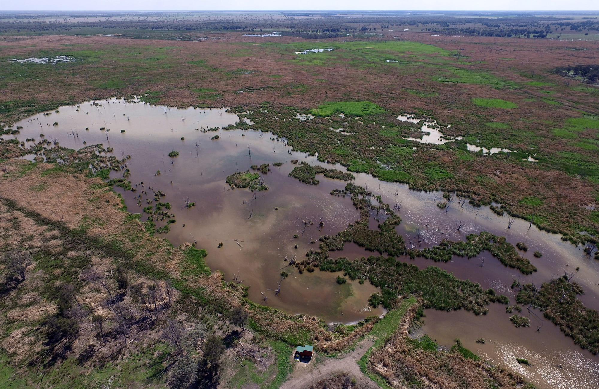 Aerial view of a bird hide next to flooded water holes alongside with green and brown vegetation. Photo: James Faris/OEH.