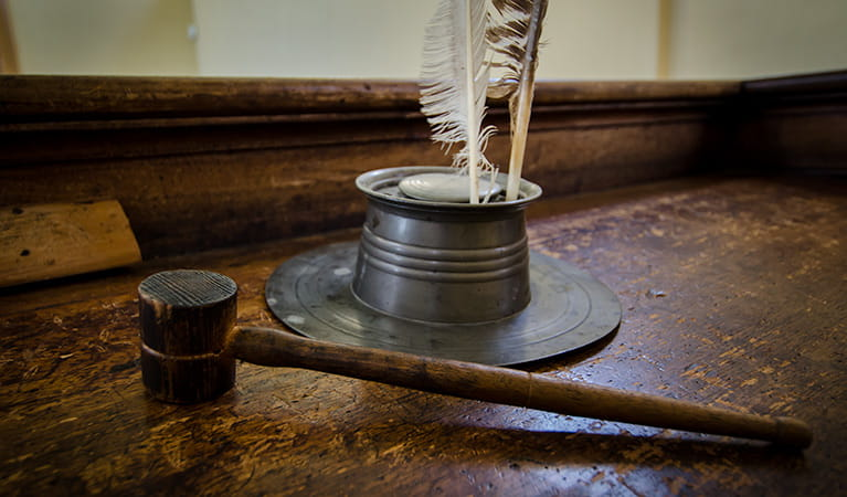 Hartley Courthouse gavel, Hartley Historic Site. Photo: John Spencer