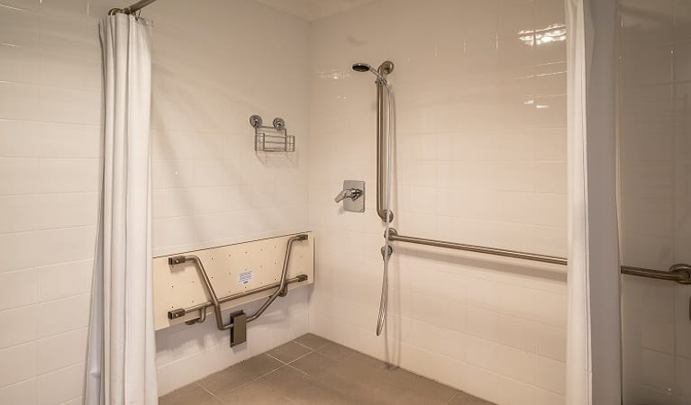 Accessible shower at Old Trahlee, Hartley Historic Site. Photo: John Spencer/OEH