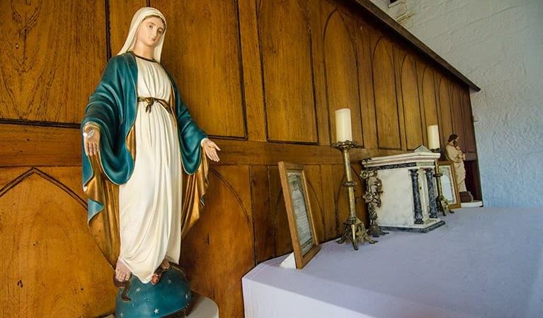 St Bernard's Church statue, Hartley Historic Site. Photo: John Spencer