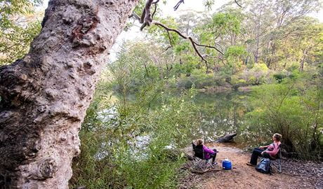 Lake Eckersley campground, Heathcote National Park. Photo: Nick Cubbin