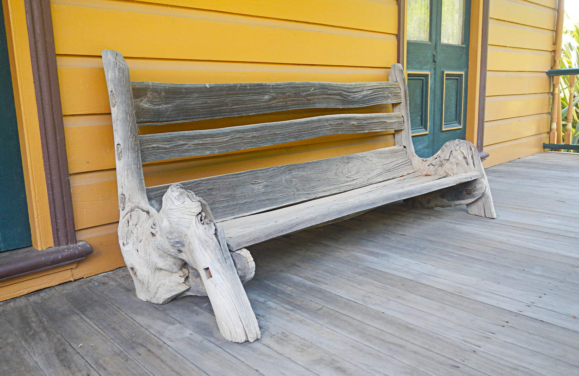 Timber bench on the porch. Photo:Debby McGerty