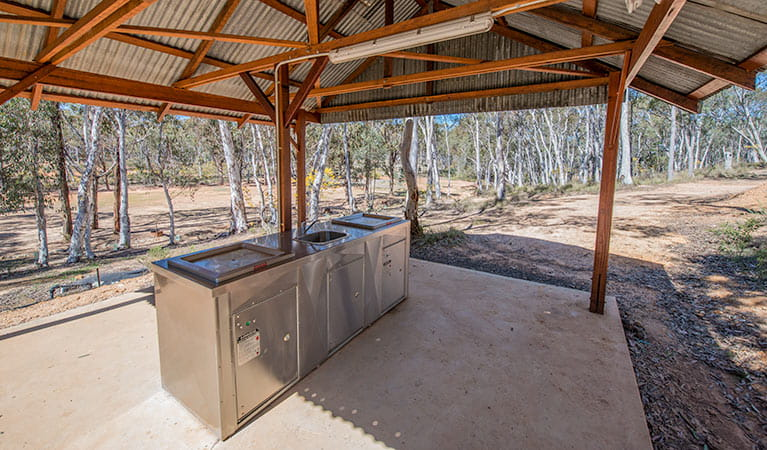 View of a barbecue shelter at Glendora campground, Hill End Historic Site. Photo: John Spencer/OEH