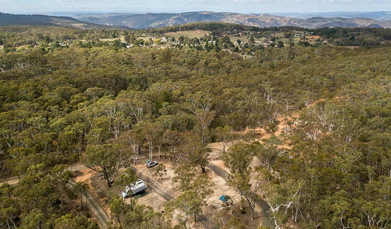Arial view of Glendora campground and the surrounding bushland, with Hill End Historic Site in the distance. Photo: John Spencer/OEH