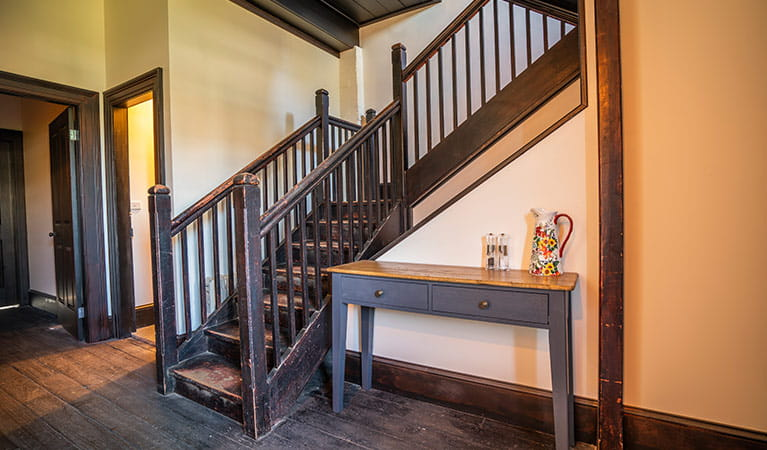 Entry level stairs at Hosies accommodation, Hill End Historic Site. Photo: J Spencer/OEH
