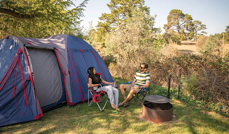 A couple camping at Village campground, Hill End Historic Site. Photo: John Spencer/OEH