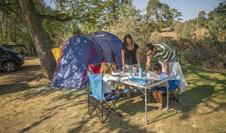 A family at Village campground, Hill End Historic Site. Photo: John Spencer/OEH