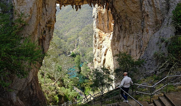A man descends stairs under Carlotta Arch, in Jenolan Karst Conservation Reserve. Photo: Elinor Sheargold/DPIE