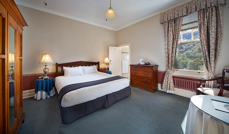King guestroom at Jenolan Caves House, Jenolan Karst Conservation Reserve. Photo: Keith Maxwell, A Shot Above Photography