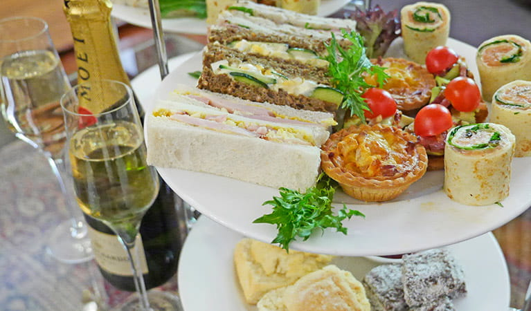 High tea and champagne served at jenolan Caves House. Photo: Jenolan Caves