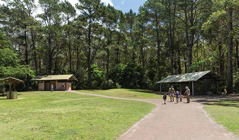 A family pass a picnic shelter at Greenfield Beach picnic area, Jervis Bay National Park. Photo: David Finnegan © DPIE
