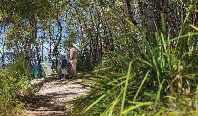 A family read a sign along Scribbly Gum track in Jervis Bay National Park. Photo: David Finnegan © DPIE