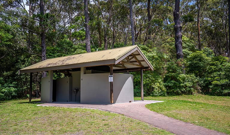 View of amenities block at Greenfield Beach picnic area. Photo credit: John Spencer © DPIE