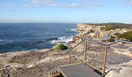 Stairs leading down to the rock platform at Cape Solander, in the Kurnell area of Kamay Botany Bay National Park. Photo: Natasha Webb © DPIE