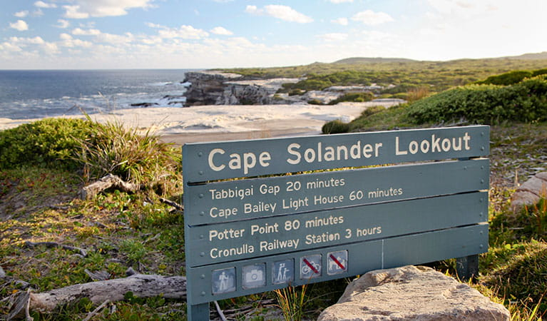 An interpretive sign at Cape Solander, with rock platform and ocean in the background. Photo: © Andrew Richards