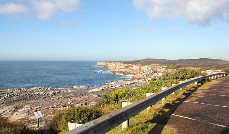 The carpark with Cape Solander and ocean view in the background. Photo: Natasha Webb © DPIE
