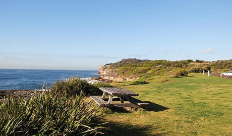 View of flat grassy area with picnic table and rugged coastline in the distance. Photo: Natasha Webb/DPIE