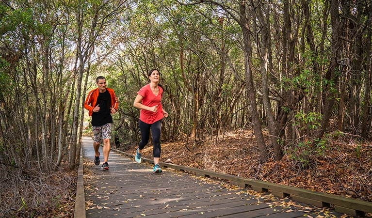 People running along the Jennifer Street boardwalk, La Perouse area, Kamay Botany Bay National Park. Photo: J Spencer/OEH