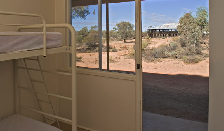 Looking out of the bedroom at Kinchega Shearer's Quarters, Kinchega National Park. Photo: David Finnegan