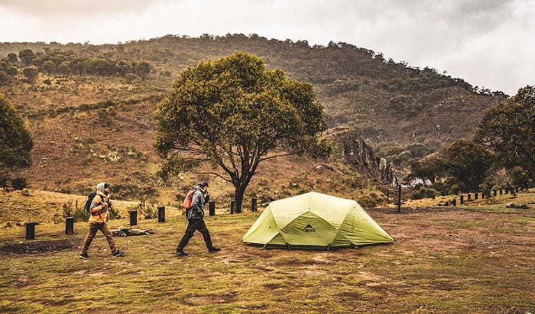 Two men walk past a green tent at Blue Waterholes campground, Kosciuszko National Park. Photo: Robert Mulally/DPIE