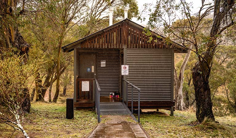 Exterior of toilet at Blue Waterholes campground, High Plains area of Kosciuszko National Park. Photo: Robert Mulally/DPIE