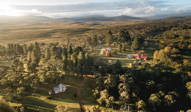 An aerial view of Daffodil Cottage, Kosciuszko National Park. Photo: Rob Mulally/DPIE