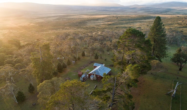 Aerial view of The Pines Cottage, Kosciuszko National Park. Photo: Rob Mulally/DPIE