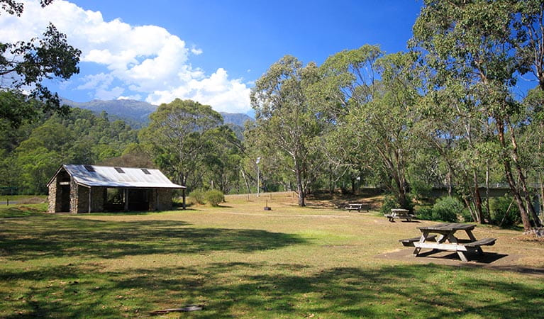 Stone picnic shelter at Geehi Flats picnic area and campground, Kosciuszko National Park. Photo: Elinor Sheargold/OEH