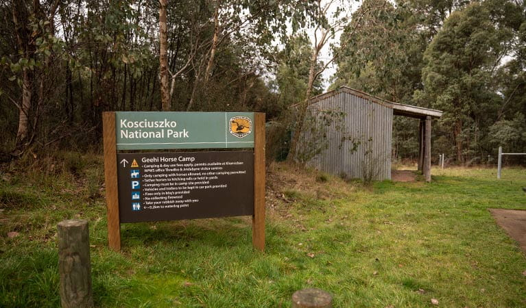 Park signage beside a shelter at Geehi horse camp, Kosciuszko National Park. Photo: Robert Mulally © Robert Mulally
