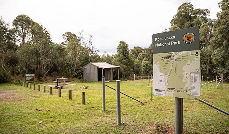 Park sign and map in front of horse shelter and yards, Geehi horse camp, Kosciuszko National Park. Photo: Robert Mulally © Robert Mulally