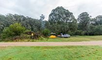 Tent and cars at Tom Groggin campground, Koscisuzko National Park. Photo: Murray Vanderveer/NSW Government